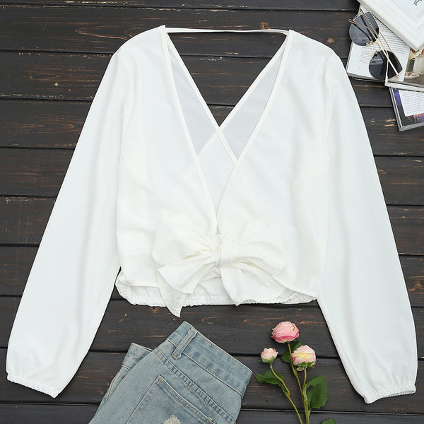 Self Tie Bowknot Open Back Blouse 9486