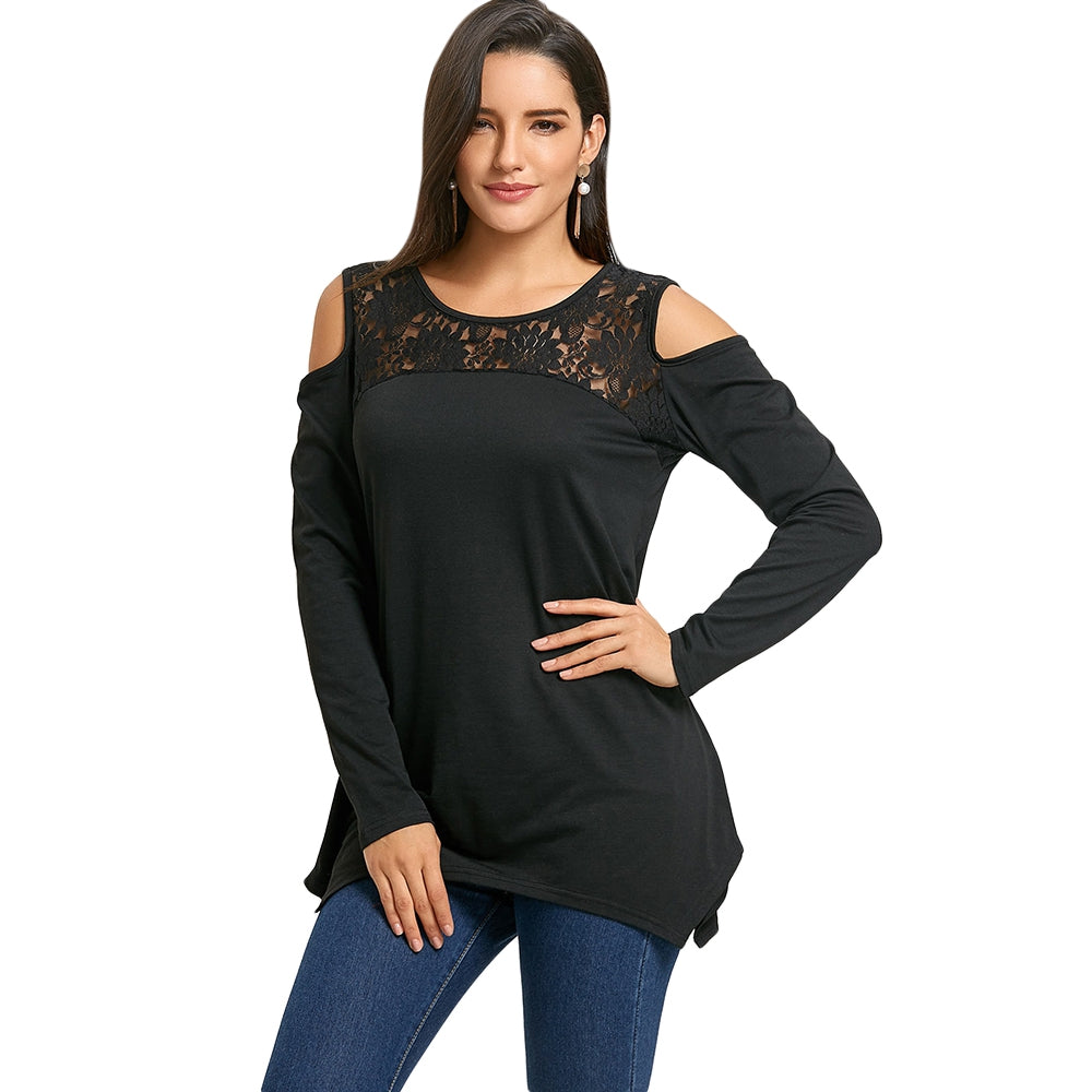 Cold Shoulder Lace Insert Tunic Top 7501