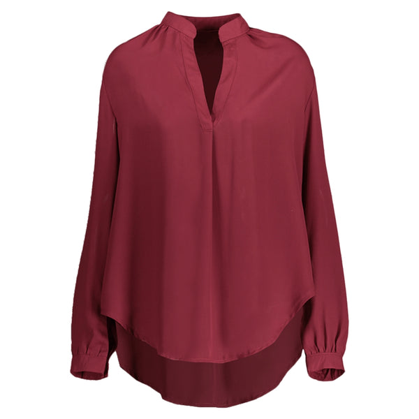 Long Sleeve V Neck High Low Blouse 8400