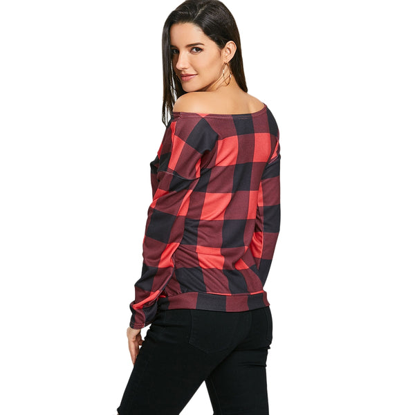 Long Sleeve Skew Neck Plaid Top 4888