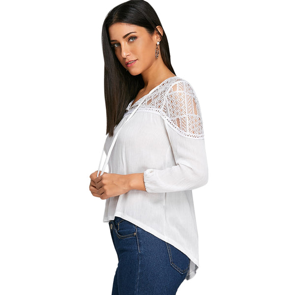 High Low Lace Panel Tunic Blouse 1227