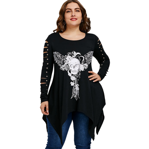 Plus Size Skull Shredding T-shirt 6970