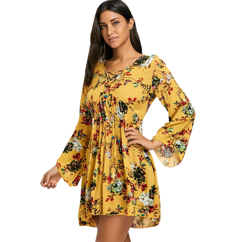 Lace Up Floral Print Empire Waist Mini Dress 3764