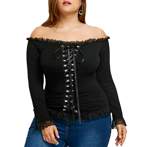 Plus Size Off The Shoulder Top 1585