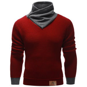 Men's Zip Up High Neck Ribbed Pullover Sweater