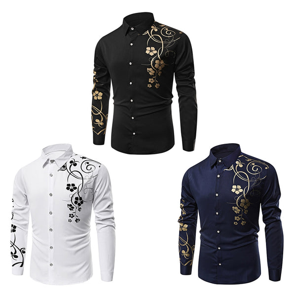 Turn-down Collar Floral Printing Long Sleeve Shirt for Men 8987