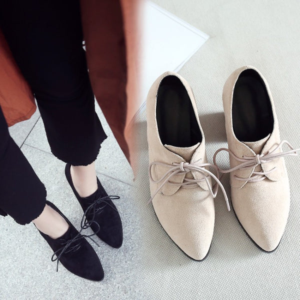 Pointed Toe Lace Up Chunky High Heels Women Shoes 3387