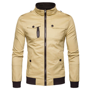 Men's Pure Color Epaulet Design Pockets Zip Up Cargo Jacket