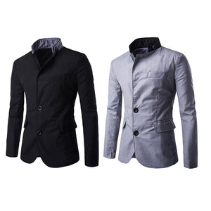 Men's Long Sleeve Button Pocket Stand Collar Suit