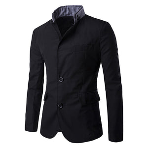 Men's Pure Color Fashion Stand Collar Long Sleeve Button Pocket Suit