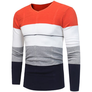 Men's V Neck Patchwork Color Jumper Pullover Sweaters
