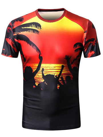 3D Sunset Coconut Palm Printing Hawaii Holiday T-shirt 3390