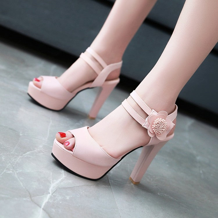 Flower Women Platform Heels Sandals Shoes MF4638
