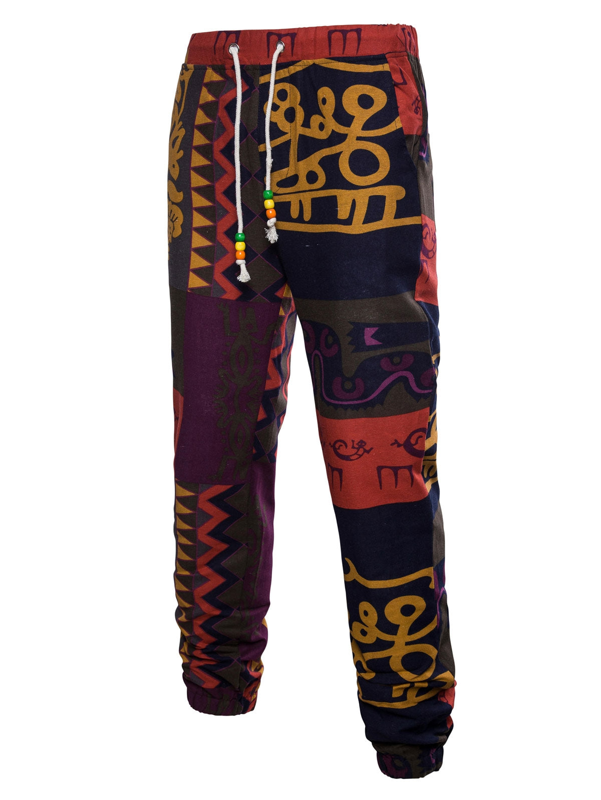 Men's Ethnic Wall Gecko Print Narrow Feet Jogger Pants
