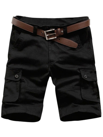 Men's Casual Solid Color Zipper Fly Cargo Shorts