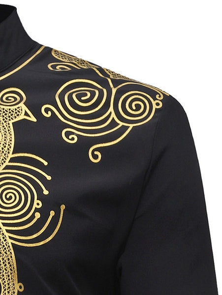Men's Ethnic Style Print Long Sleeves Stand Collar Trendy Shirt