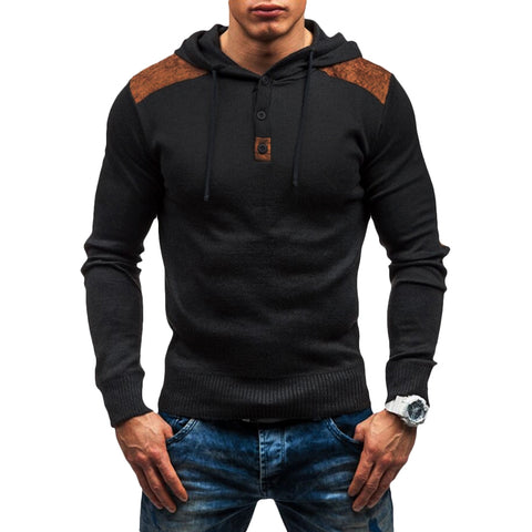 Men's Solid Color Panel Design Hooded Sweater