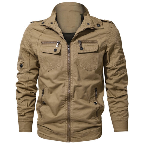 Men's Zipper Pocket Turndown Collar Jacket