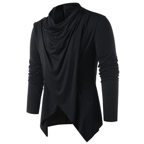 Men's Solid Color Fashion Asymmetrical Overlap Asymmetrical Cardigan