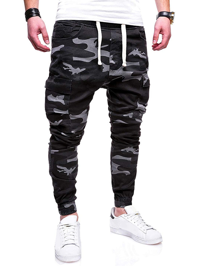 Men's Camouflage Drawstring Multi Pocket Jogger Pants