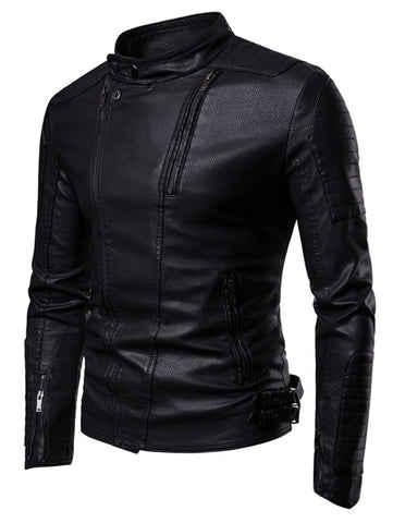 Men's Slim Fit Zippers Embellished Casual Faux Leather Jacket