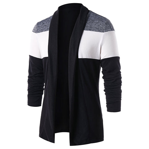 Men's Casual Color Blocking Open Front Long Sleeves Cardigan