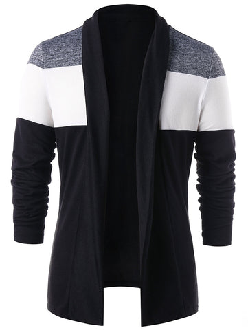 Men's Color Casual Long Sleeved Block Patchwork Cardigan