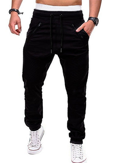Men's Zippers Embellished Drawstring Fashion Jogger Pants