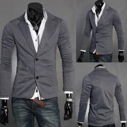 Solid Color Casual Slim Fit Suit for Men