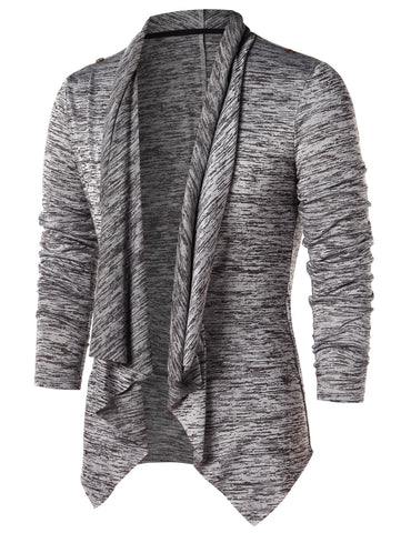 Men's Open Front Space Dye Asymmetric Cardigan