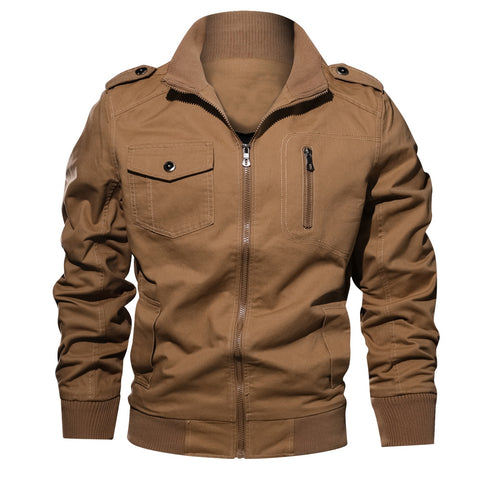 Men's Solid Color Cotton Autumn New Plus Size Jacket