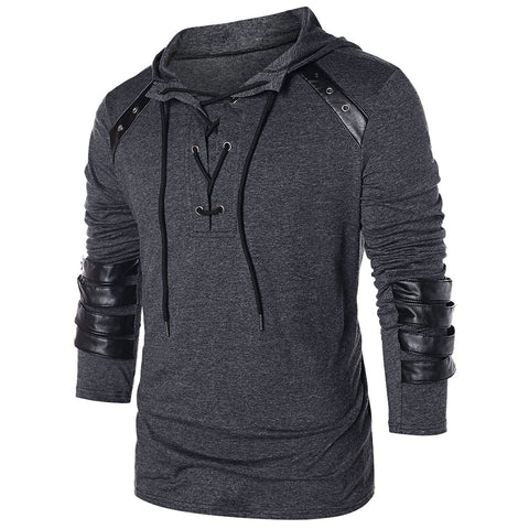 Men's Faux Leather Drawstring Hoodies