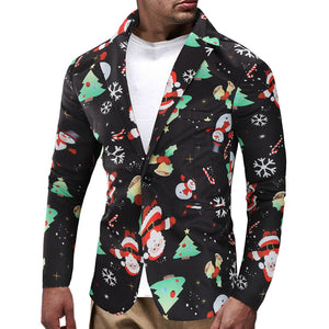 Men's Christmas Snowmen Candy Printed Casual Blazer