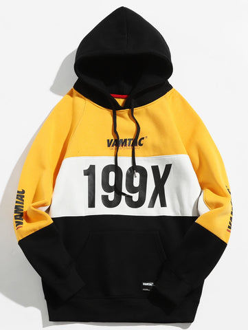 Men's Number Graphic Colorblock Drawstring Hoodie