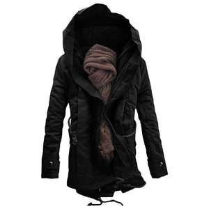 Men's Hooded Padded Double Zip Up Parka Coat for Winter