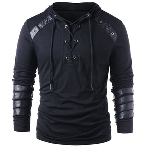 Men's Faux Leather Lace Up Pu Panel Hoodie