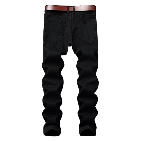 Men's Zip Fly Straight Legs Jeans with Extreme Rips