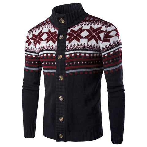 Men's Christmas Knitted Geometric Snowflake Pattern Cardigan