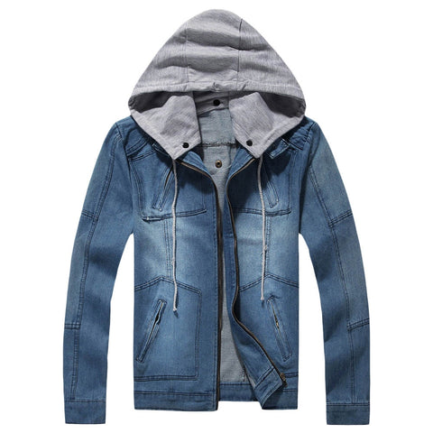 Men's Fashion Stylish Hooded Long Sleeve Pocket Denim Jacket