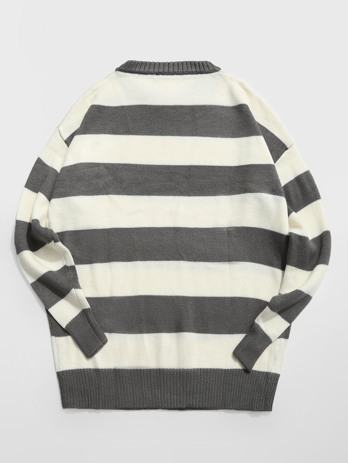 Men's Crewneck Contrast Stripe Loose Knit Sweater