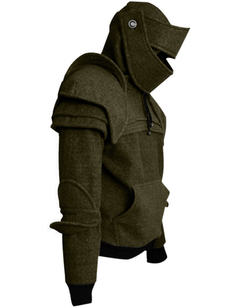 Men's Retro Drawstring Knight Solid Color Sweater