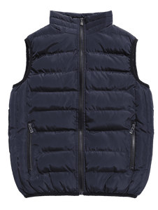 Men's Solid Color Padded Zip Pocket  Vest