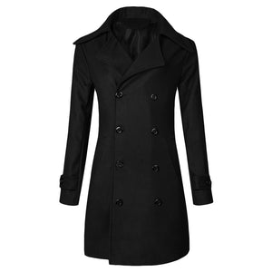 Men's Solid Long Woolen Coat Casual Business Jacket Outwear