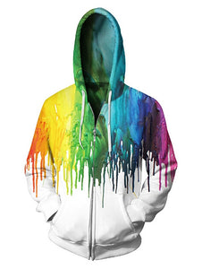 Men's Zipper Fashion Tie Dye Splash Paint Hoodie