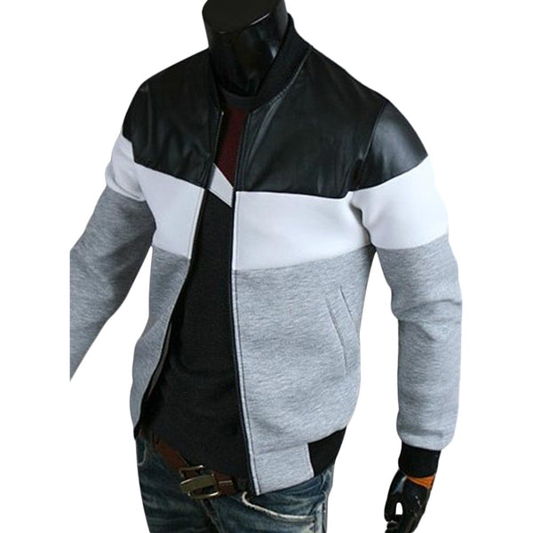 Men's Classic Color Block PU Leather Spliced Rib Hem Stand Collar Long Sleeves Slimming Jacket