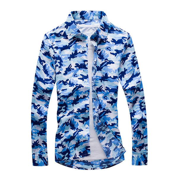 Men'S Fashion Camouflage Long-Sleeved Shirt Men 9118