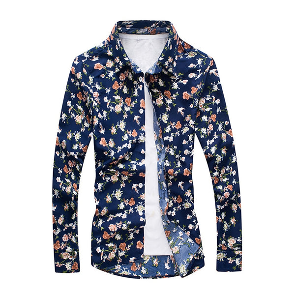 Casual Floral Men'S Long-Sleeved Shirt 3210