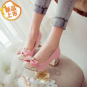 Bow Sequin Rhinestone Medium Heel Shoes for Woman 8723