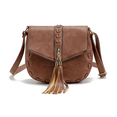 Vintage Pu Leather Tassel Crossbody Shoulder Bags for Women 9800