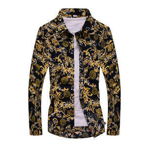 Fashion Lapel Casual Yellow Men'S Long-Sleeved Shirt 8328